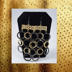Jewelry - Mixed Metal Hammered Circles Chandelier Earrings